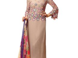 Lovely Grey and Blue Embroidered Salwar Kameez with Dupatta