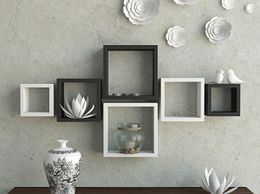 Decornation Wall Shelf Set Of 6 Nesting Square Wall Shelves Rack Unit - Black & White