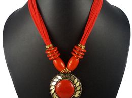 Aradhya Red Color Designer Tibetan Style Necklace for Women and Girls