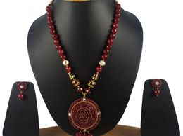 Aradhya Traditional Mehroon Designer Flower Pendant and Onyx Stone Beads Necklace for Women and Girls