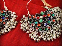 Multicolor Nag Chandbali Divamm Fashion Oxidized Afghani Tribal Dangler Hook Chandbali Earrings