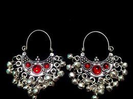 Red Stone Small Chandbali Divamm Fashion Oxidized Afghani Tribal Dangler Hook Chandbali Earrings