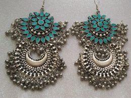 Sea GreenDouble Designer Earings Divamm Fashion Oxidized Afghani Tribal Dangler Hook Chandbali Earrings