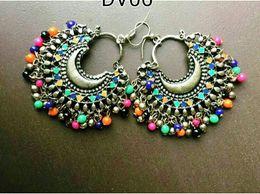 Silver Multibeads Chandbali Divamm Fashion Oxidized Afghani Tribal Dangler Hook Chandbali Earrings