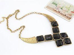 Black Geometric Square Shape Necklace