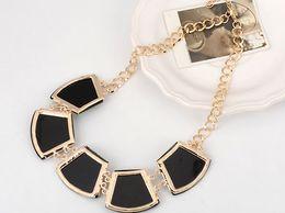 Black Geometric Gem Necklace