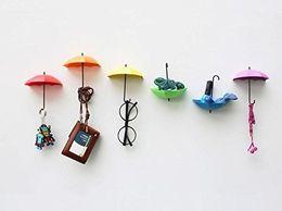 6pcsumbrella Drop Style Clothes Key Hat Wall Hanger Hooks