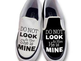 He/She Mine Couple SlipOn Shoes slipon canvas shoes casual shoe loafer shoes printed handpainted shoes