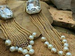 Trendy Stone with Pearl Tassel Earrings - Handmade