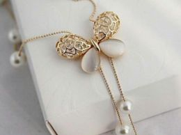 Butterfly Pendant Pearl Neck Statement