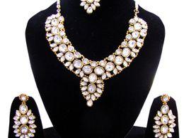 Kundan Polki Necklace with Earrings and Maang Tikka