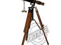 Beautiful desk decorative gift brass telescope wooden tripod vintage maritime decor
