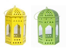 Decorate India Yellow Green   T-light Hanging  iron lantern set (16 cm)