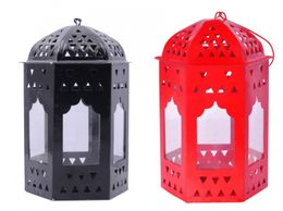 Decorate India Black and Red T-light Hanging  iron lantern (16 cm)