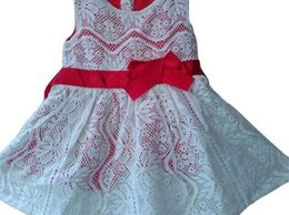 Kids Wear's Red & White Lace Frock