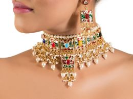Aradhyaa Jewel Arts Pretty Choker Set with Meenakari Work