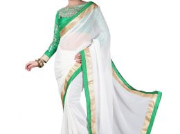 RS Fashion white Chiffon Saree
