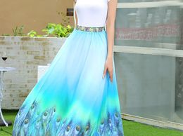 Regalia Ethnic Latest New Designer Sky Blue Digital Flower Printed Georgette Skirt