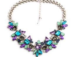 La Perla Statement Blue with Purple Flower Necklace