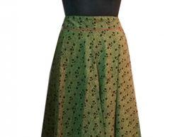 House Of Zii Green Bagh Print Handloom Cotton Long Skirt
