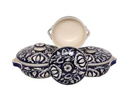 Donga set in royal blue Mughal colour (set of 3)handmade pottery