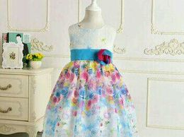 Fancy Frock For Girls White And Blue