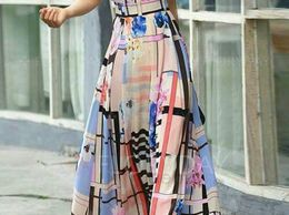 Digital Printed Crepe Western twill Gown for women