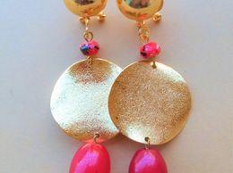 Designer Red Cherry Gold Earrings