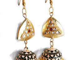 Black And White With Gold Motifs Jhumkas