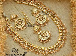 Gehnoor High Quality Artificial  Single Layer Kundan & Fine Pearl Long Rani Haar Necklace Set with Chandbali Earrings & Maang tika ( Fashion Jewellery )