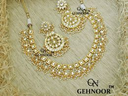 Gehnoor High Quality Artificial One/Single Layer Kundan & Fine Pearl Necklace with Chandbalis / Earrings ( Fashion Jewellery )