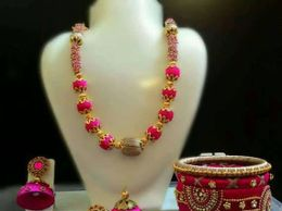 Silk Thread Necklace & Earrings