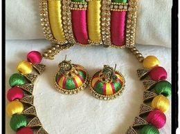 Silk Thread Necklace & Bangles