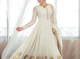 New Fashion White Georgette Party Wear Anarkali Suit