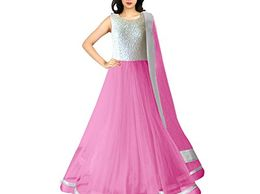 Shocking Pink Net semi stitched Gown Dresses