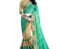 Royal Creation Green & Beige Designer Half Half Saree