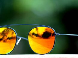 Sunglasses Orange  Aviator Golden Frame Goggles