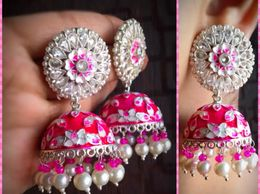 Designer big pink hand painted jhumka with ad stone partywear earrings