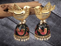 Fashionable ethnic black n golden bird jhumka jhumki earrings