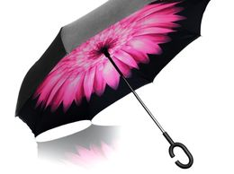 Vetci Reverse Umbrella Double Layer Wind Proof, UV Proof Reverse Folding Umbrella with C Shape Handle