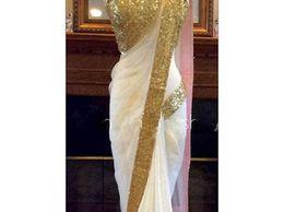 Jhtex Fashion Women's Chiffon Saree (SAREE03_WHITE)