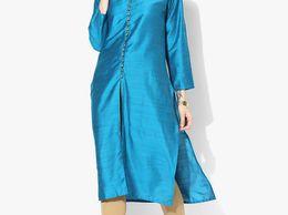 Ice blue solid Dupion silk Kurta