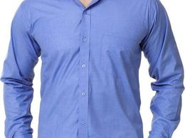 New Fancy Blue Cotton Men Formal Shirt
