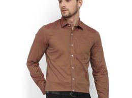 New Fancy Wood Cotton Men Formal Shirt