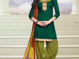 Green Unstitched Cotton Fabric Patiala Suit With Gota Patti Work