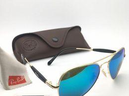 Professional Sunglasses Aviator Aqua Blue Mirror Goldan Frame