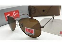 Sunglasses Ray Ban Aviator Brown Glass Black Frame_006