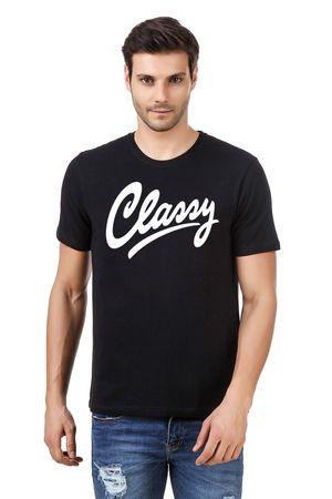 Round Neck Cotton Black Men's Half Sleeve Printed T shirt 58