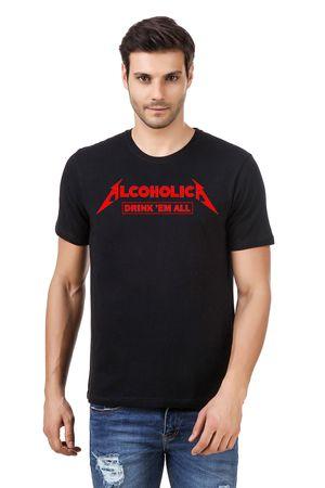 Round Neck Cotton Black Men's Half Sleeve Printed T shirt 06