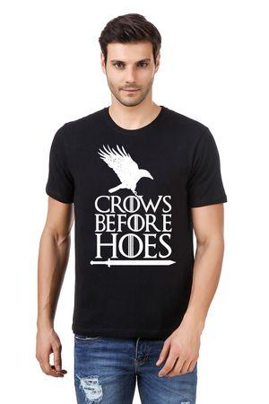 Round Neck Cotton Black Men's Half Sleeve Printed T shirt 64